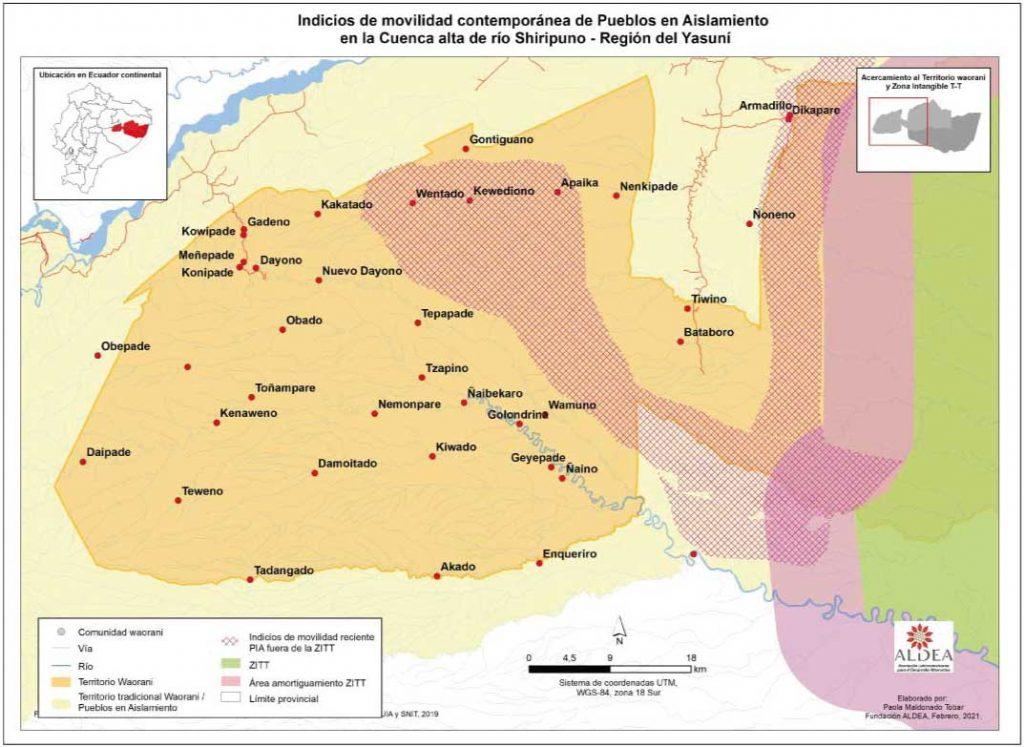 Nueva movilidad en el alto Río Shiripuno. Mapa: Paola Maldonado, Fundación Aldea.