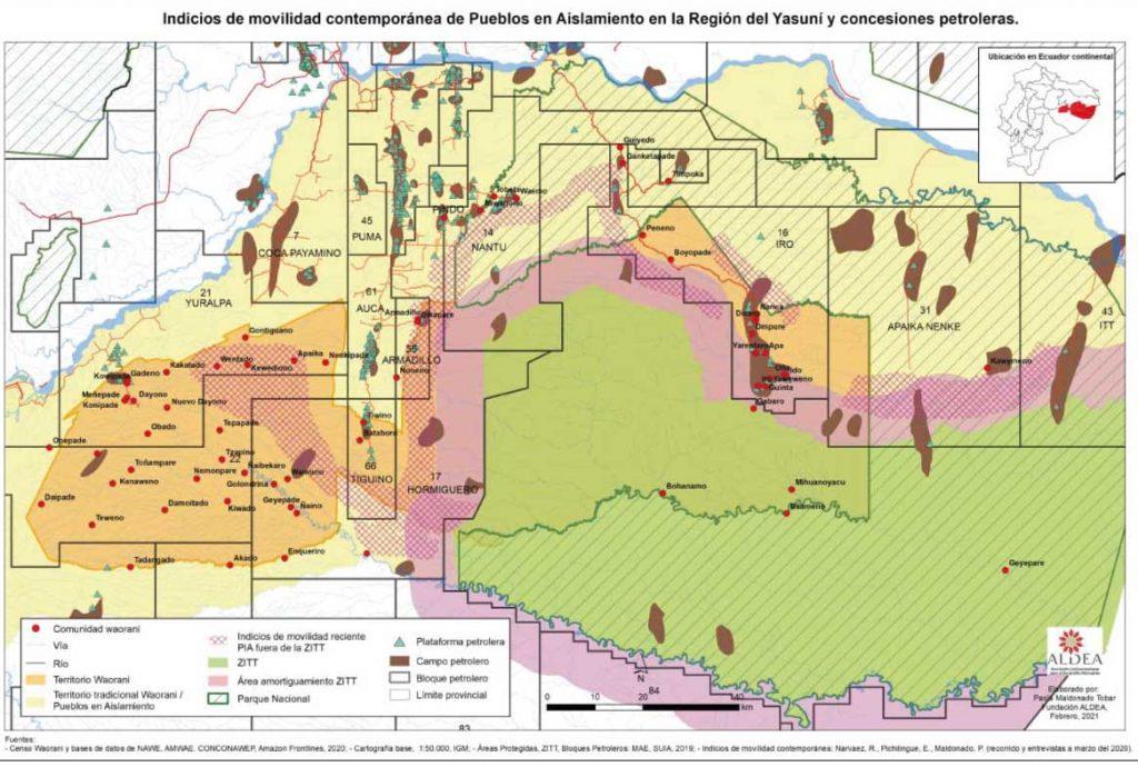 Región Yasuní. Mapa: Paola Maldonado / Fundación Aldea.